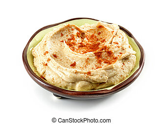 bowl of humus - bowl of hummus isolated on white background