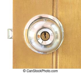 Door knob on a wooden door
