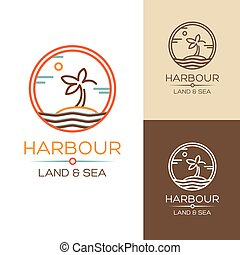 Harbour Land and Sea Vector illustrations set with palm on...