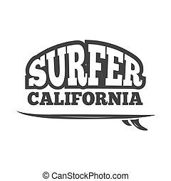 Vintage black vector surf emblem, logo