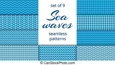Blue sea waves patterns collection
