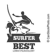Surfing logo with surfer over the board. Symbol extreme in...