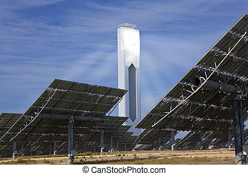Renewable Green Energy Solar Tower Surrounded by Mirror...