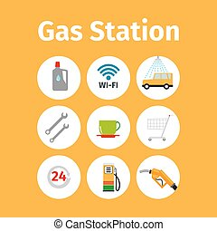 Gas station icons in circle set