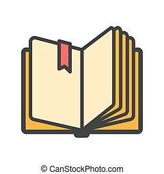 Open book with ribbon bookmark icon. Vector illustration