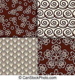 Brown and white sakura flowers pattern set