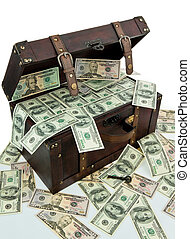 Chest with dollar banknotes. Financial crisis, crisis, debt....