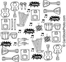 Flat doodle music element