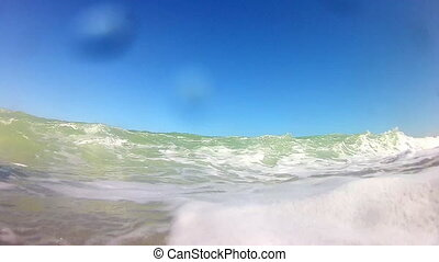 Sea waves with blue sky and clouds.