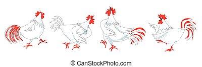 Chicken or Hen singing Cartoon Pattern Design