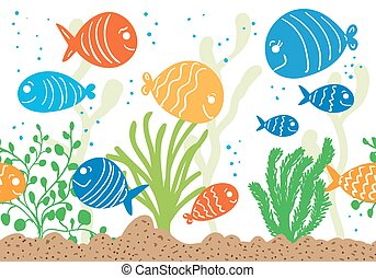 Aquarium doodle seamless pattern. Underwater tropical fish...