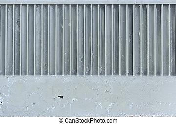 Old Grey Metal Grid with Copy Space - An old grey metal grid...