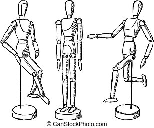 Wooden mannequin art figurine Dummy model toy for drawing...