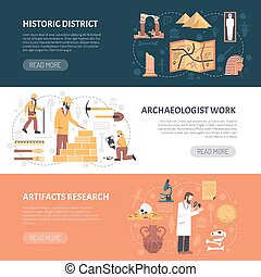 Archeology Banners Illustration - Color horizontal banner...