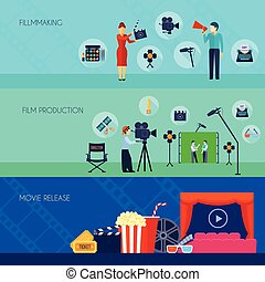 Filmmaking Movie Release 3 Flat Banners - Filmmaking and...