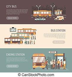 City Bus Flat Horizontal Banners Set - City bus public...