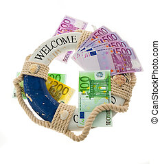 Life ring and the euro. Salvation of Greece.