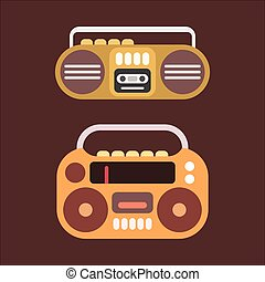 Cassette Player - Two old cassette players colorful flat...