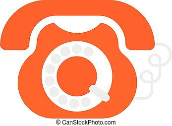 Rotary Telephone - Old phone flat vector icon isolated on a...