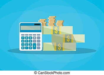 couting finances. calculator, gold coins, dollars