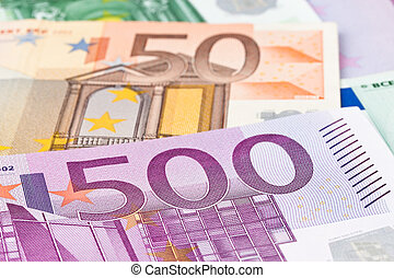 Many Euro Banknotes - Many Euro banknotes of the European...