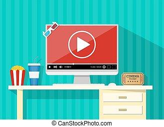 Online home cinema concept. desktop, computer display with...