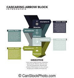 Cascading Arrow Block Infographic - Vector illustration of...