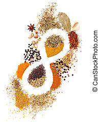 Infinity of nutrition Spice Mix herbs, rosemary,cardamon, pepper, powder, chili, and mint set up on top white tabale background. cooking and spicy food concept.