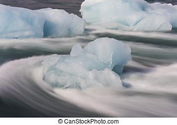 hielo, Bloques, en, fluir, río, Islandia