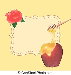 Traditional apple and honey with empty blank. Design element...