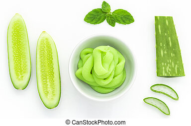 Natural ingredient for skincare and scrub with cucumber,...