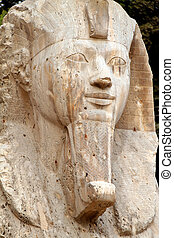 Egypt, Memphis, - The Alabaster Sphinx in Memphis, Egypt