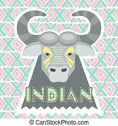 bison, gris, vecteur, Illustration