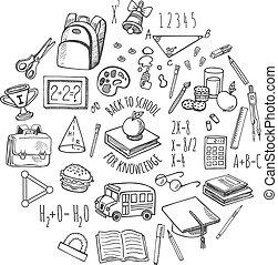 School tools sketch in a circle vector design