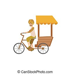 Indian Bicycle Rickshaw Country Cultural Symbol Illustration...