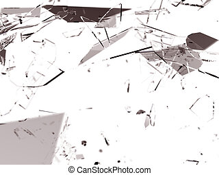 Many pieces of shattered glass over white 3d render Large...