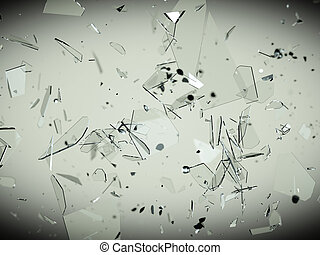 Pieces of splitted or cracked glass high resolution