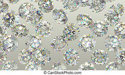 Sparkling large Diamonds or gems over grey background