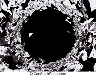 Bullet hole in Shattered glass on black background. Large...