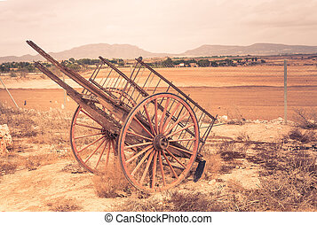 Old wooden wagon - Old broken wooden wagon