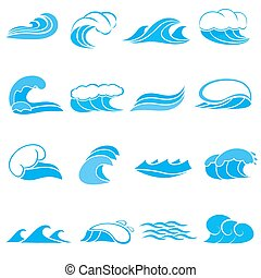 Water wave set, cartoon style