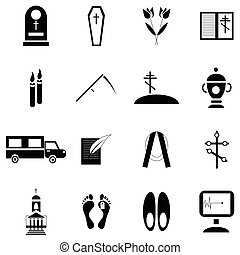 Death and funeral icons set, simple style - Simple death and...