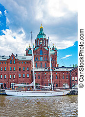 Northen harbour and Uspensky Cathedral. Helsinki, Finland -...