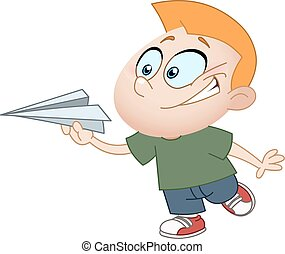 Kid with paper plane - Kid throwing a paper plane