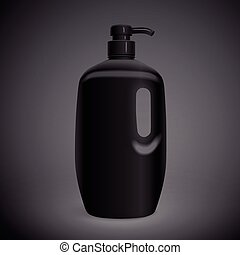 blank body care bottle isolated on black background. 3D...
