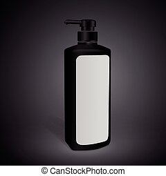 shampoo bottle with blank label isolated on black...