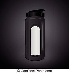reusable water bottle isolated on black background. 3D...