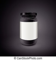 empty glass jar isolated on black background. 3D...