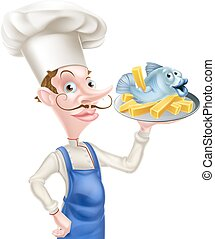 Fish and Chips Chef - A cartoon seafood chef holding a...