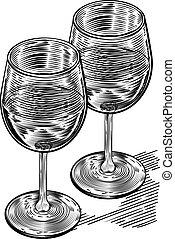 Vinatge Woodblock Style Wine Glasses - Original illustration...